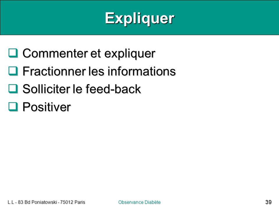 L.L - 83 Bd Poniatowski - 75012 ParisObservance Diabète 39 Expliquer  Commenter et expliquer  Fractionner les informations  Solliciter le feed-back