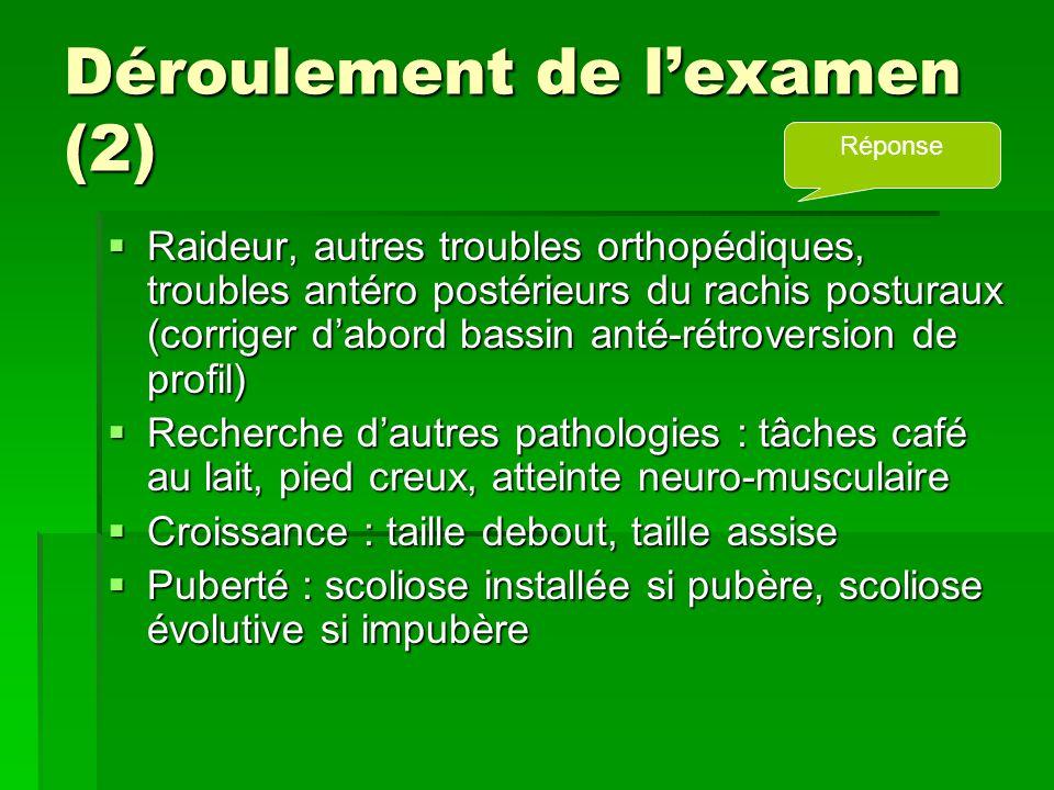 Déroulement de l'examen (2)  Raideur, autres troubles orthopédiques, troubles antéro postérieurs du rachis posturaux (corriger d'abord bassin anté-ré