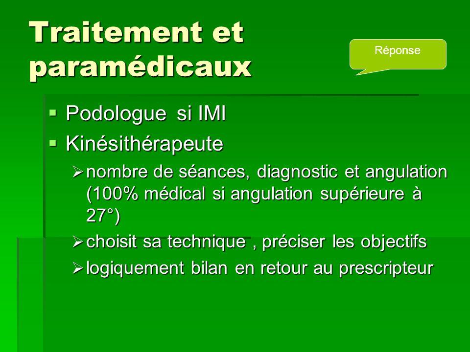 Traitement et paramédicaux  Podologue si IMI  Kinésithérapeute  nombre de séances, diagnostic et angulation (100% médical si angulation supérieure