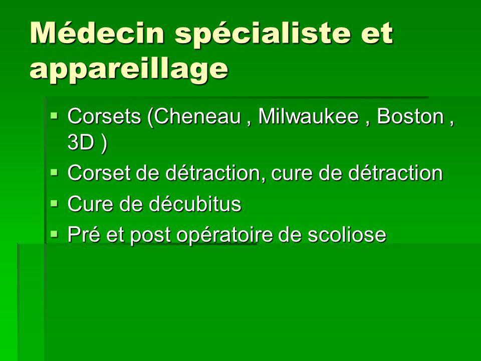 Médecin spécialiste et appareillage  Corsets (Cheneau, Milwaukee, Boston, 3D )  Corset de détraction, cure de détraction  Cure de décubitus  Pré et post opératoire de scoliose