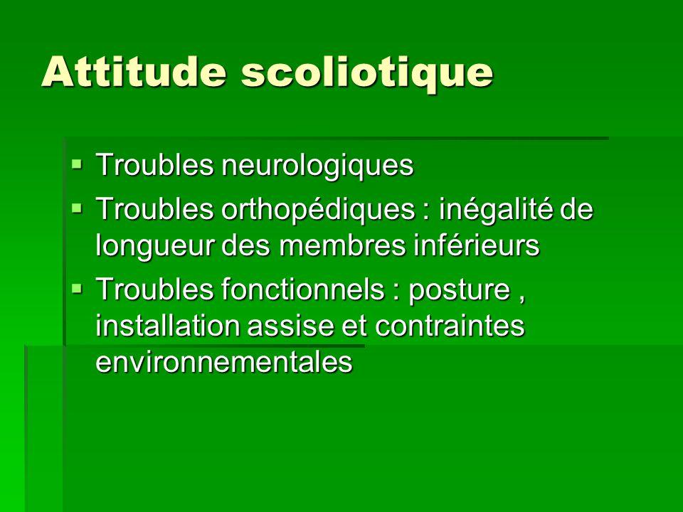 Attitude scoliotique  Troubles neurologiques  Troubles orthopédiques : inégalité de longueur des membres inférieurs  Troubles fonctionnels : postur