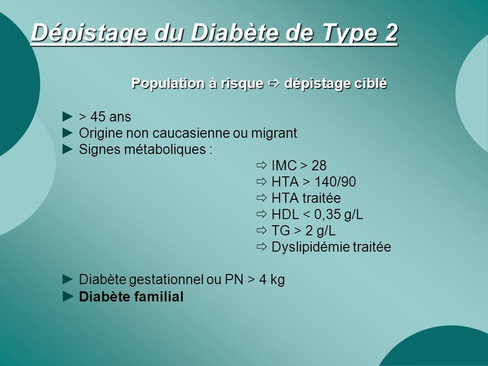 Dépistage du Diabète de Type 2 Population à risque  dépistage ciblé ► > 45 ans ► Origine non caucasienne ou migrant ► Signes métaboliques :  IMC > 2