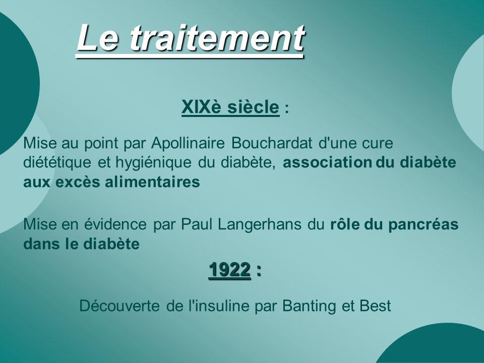 Le traitement XIXè siècle : Mise au point par Apollinaire Bouchardat d'une cure diététique et hygiénique du diabète, association du diabète aux excès