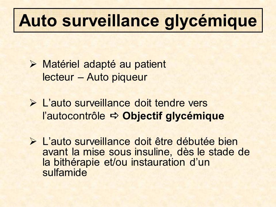 Auto surveillance glycémique  Matériel adapté au patient lecteur – Auto piqueur  L'auto surveillance doit tendre vers l'autocontrôle  Objectif glyc
