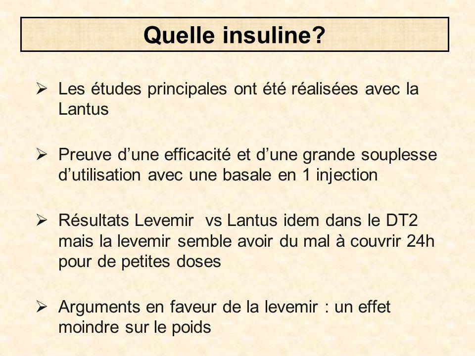  Les études principales ont été réalisées avec la Lantus  Preuve d'une efficacité et d'une grande souplesse d'utilisation avec une basale en 1 injec