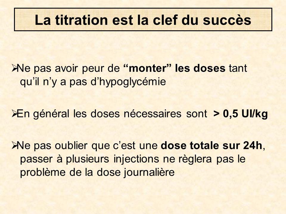 """ Ne pas avoir peur de """"monter"""" les doses tant qu'il n'y a pas d'hypoglycémie  En général les doses nécessaires sont > 0,5 UI/kg  Ne pas oublier que"""