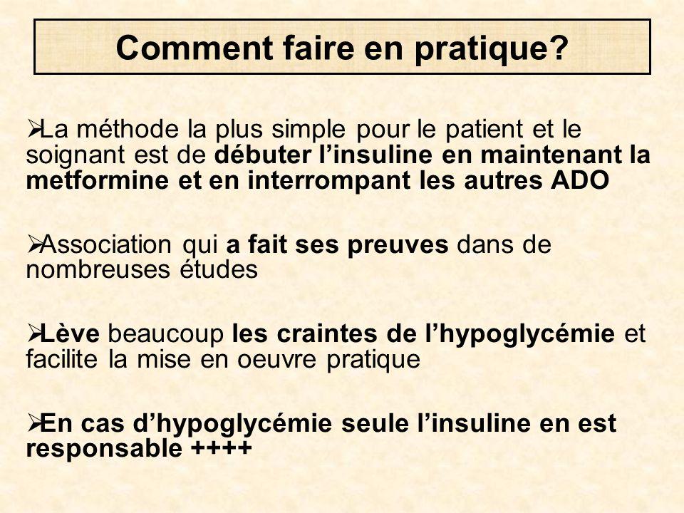  La méthode la plus simple pour le patient et le soignant est de débuter l'insuline en maintenant la metformine et en interrompant les autres ADO  A