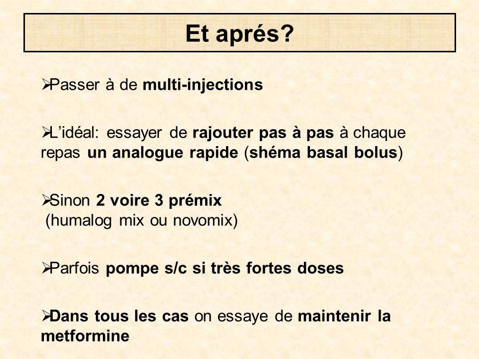  Passer à de multi-injections  L'idéal: essayer de rajouter pas à pas à chaque repas un analogue rapide (shéma basal bolus)  Sinon 2 voire 3 prémix