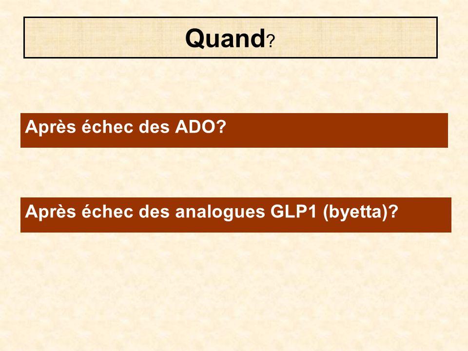 Après échec des ADO? Quand ? Après échec des analogues GLP1 (byetta)?