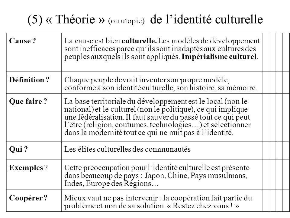 (5) « Théorie » (ou utopie) de l'identité culturelle Cause ?La cause est bien culturelle. Les modèles de développement sont inefficaces parce qu'ils s
