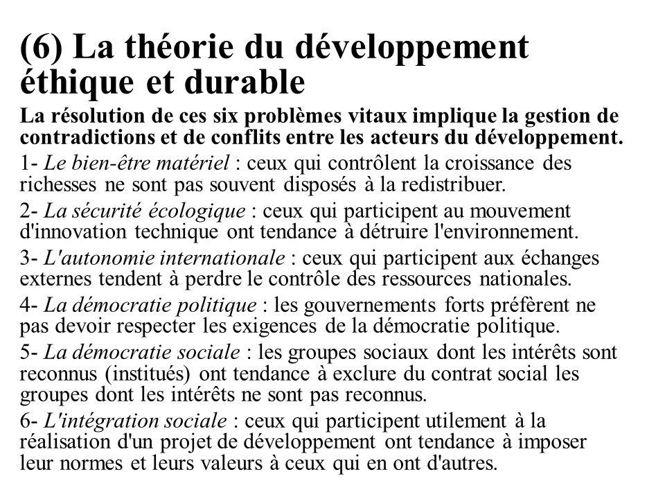 (6) La théorie du développement éthique et durable La résolution de ces six problèmes vitaux implique la gestion de contradictions et de conflits entr