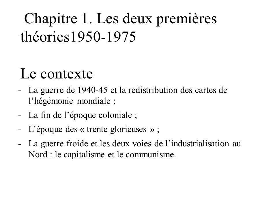 Chapitre 1. Les deux premières théories1950-1975 Le contexte -La guerre de 1940-45 et la redistribution des cartes de l'hégémonie mondiale ; -La fin d