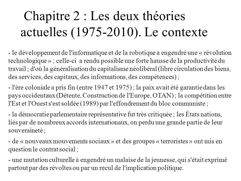 Chapitre 2 : Les deux théories actuelles (1975-2010). Le contexte - le développement de l'informatique et de la robotique a engendré une « révolution