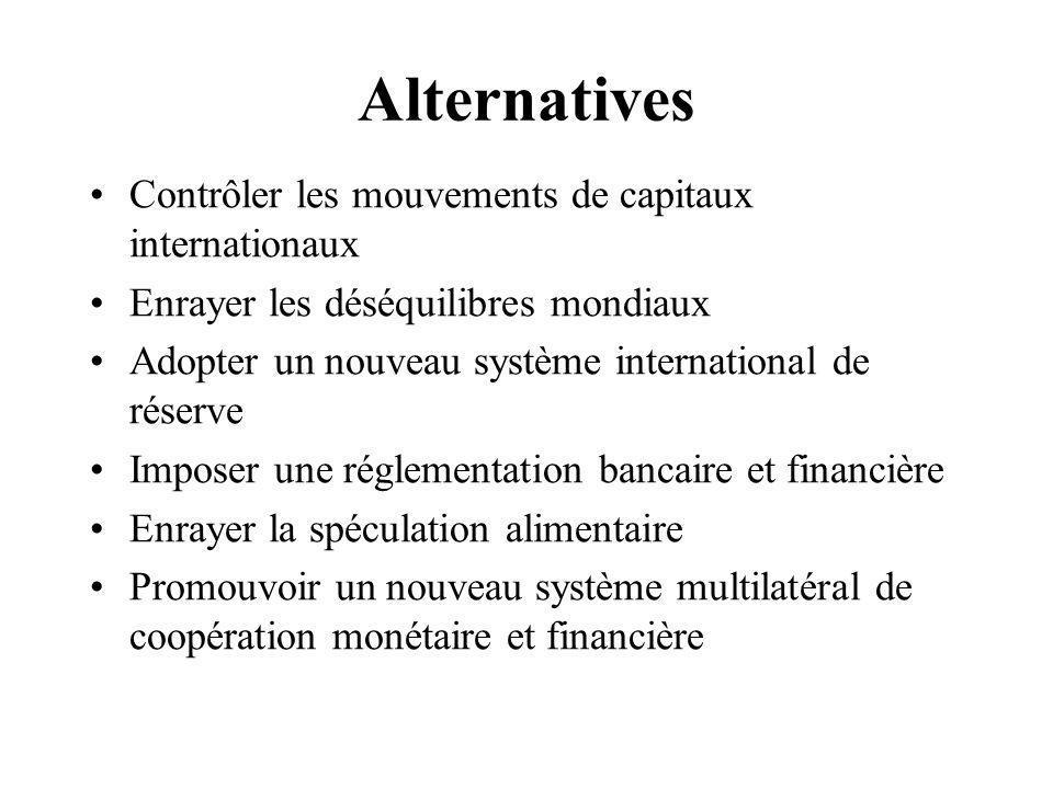 Alternatives Contrôler les mouvements de capitaux internationaux Enrayer les déséquilibres mondiaux Adopter un nouveau système international de réserve Imposer une réglementation bancaire et financière Enrayer la spéculation alimentaire Promouvoir un nouveau système multilatéral de coopération monétaire et financière