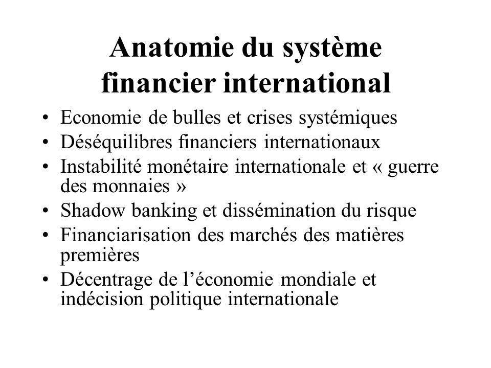 Anatomie du système financier international Economie de bulles et crises systémiques Déséquilibres financiers internationaux Instabilité monétaire internationale et « guerre des monnaies » Shadow banking et dissémination du risque Financiarisation des marchés des matières premières Décentrage de l'économie mondiale et indécision politique internationale