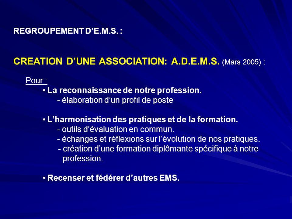 REGROUPEMENT D'E.M.S. : CREATION D'UNE ASSOCIATION: A.D.E.M.S. (Mars 2005) : Pour : La reconnaissance de notre profession. - élaboration d'un profil d
