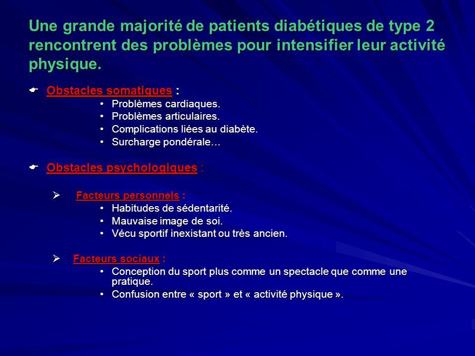 Une grande majorité de patients diabétiques de type 2 rencontrent des problèmes pour intensifier leur activité physique.  Obstacles somatiques : Prob