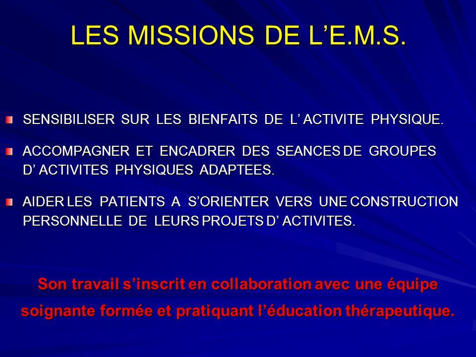 LES MISSIONS DE L'E.M.S. SENSIBILISER SUR LES BIENFAITS DE L' ACTIVITE PHYSIQUE. ACCOMPAGNER ET ENCADRER DES SEANCES DE GROUPES D' ACTIVITES PHYSIQUES