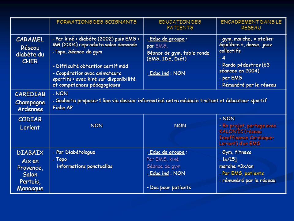 FORMATIONS DES SOIGNANTS EDUCATION DES PATIENTS ENCADREMENT DANS LE RESEAU CARAMEL Réseau diabète du CHER - Par kiné + diabéto (2002) puis EMS + MG (2