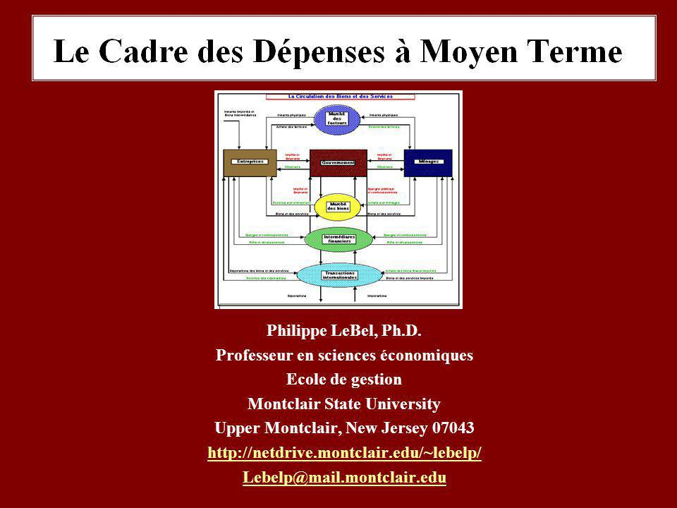 Philippe LeBel, Ph.D. Professeur en sciences économiques Ecole de gestion Montclair State University Upper Montclair, New Jersey 07043 http://netdrive