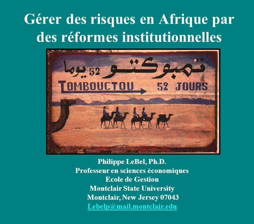 Gérer des risques en Afrique par des réformes institutionnelles Philippe LeBel, Ph.D.