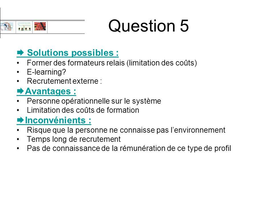 Question 5  Solutions possibles : Former des formateurs relais (limitation des coûts) E-learning? Recrutement externe :  Avantages : Personne opérat