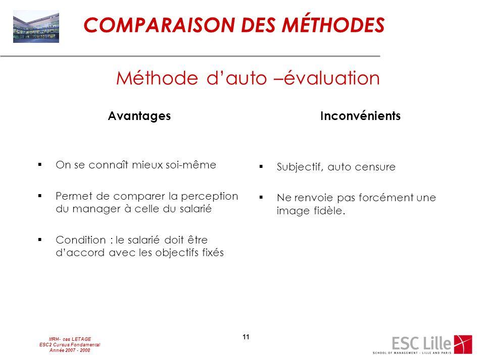MRH- cas LETAGE ESC2 Cursus Fondamental Année 2007 - 2008 11 Avantages  On se connaît mieux soi-même  Permet de comparer la perception du manager à