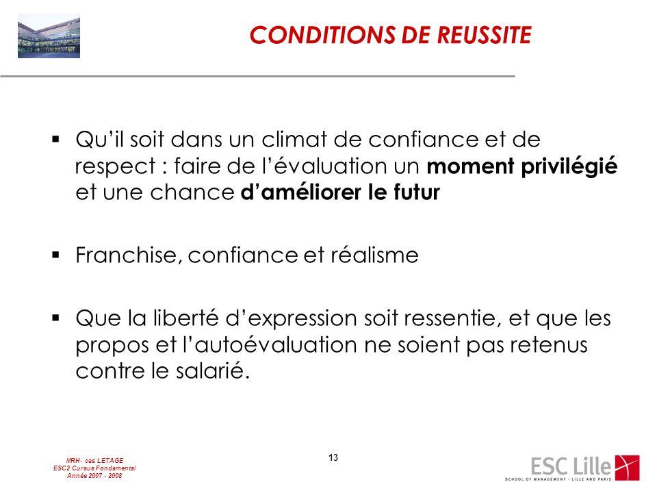 MRH- cas LETAGE ESC2 Cursus Fondamental Année 2007 - 2008 13 CONDITIONS DE REUSSITE  Qu'il soit dans un climat de confiance et de respect : faire de