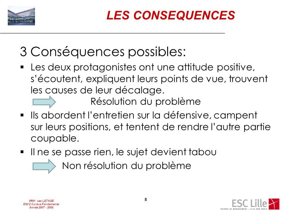 MRH- cas LETAGE ESC2 Cursus Fondamental Année 2007 - 2008 88 LES CONSEQUENCES 3 Conséquences possibles:  Les deux protagonistes ont une attitude posi