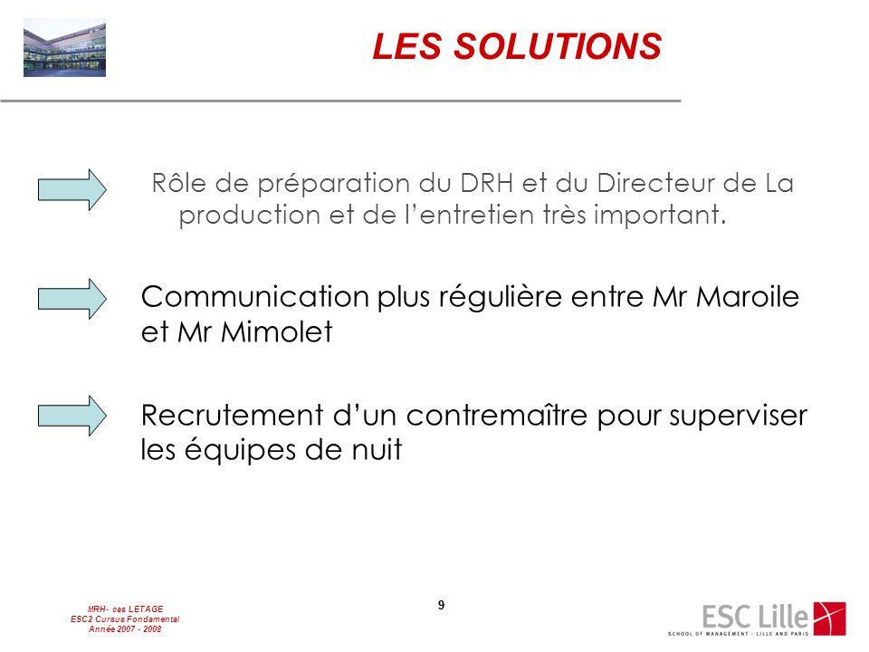 MRH- cas LETAGE ESC2 Cursus Fondamental Année 2007 - 2008 99 LES SOLUTIONS Rôle de préparation du DRH et du Directeur de La production et de l'entreti