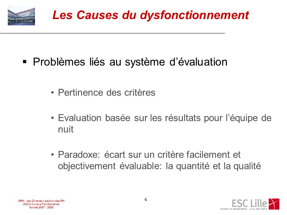 MRH- cas Directeur adjoint des RH ESC2 Cursus Fondamental Année 2007 - 2008 6  Problèmes liés au système d'évaluation Pertinence des critères Evaluat