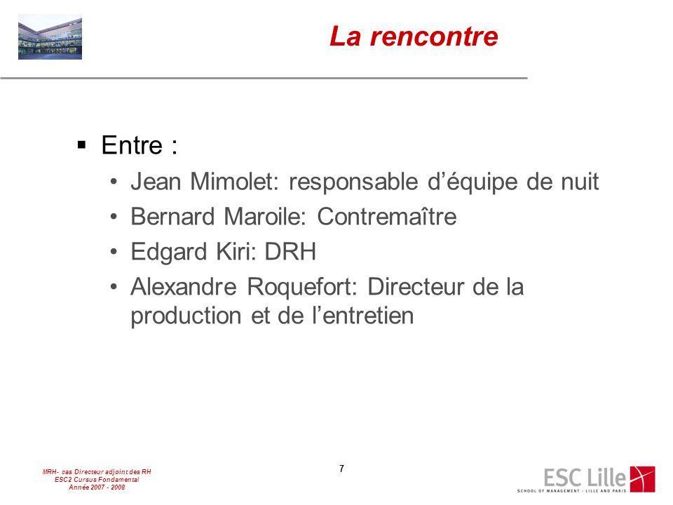MRH- cas Directeur adjoint des RH ESC2 Cursus Fondamental Année 2007 - 2008 7 La rencontre  Entre : Jean Mimolet: responsable d'équipe de nuit Bernar