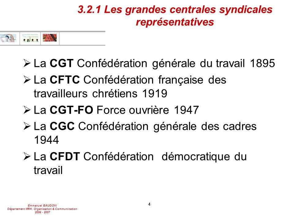 Emmanuel BAUDOIN Département MRH, Organisation & Communication 2006 - 2007 4 3.2.1 Les grandes centrales syndicales représentatives  La CGT Confédéra