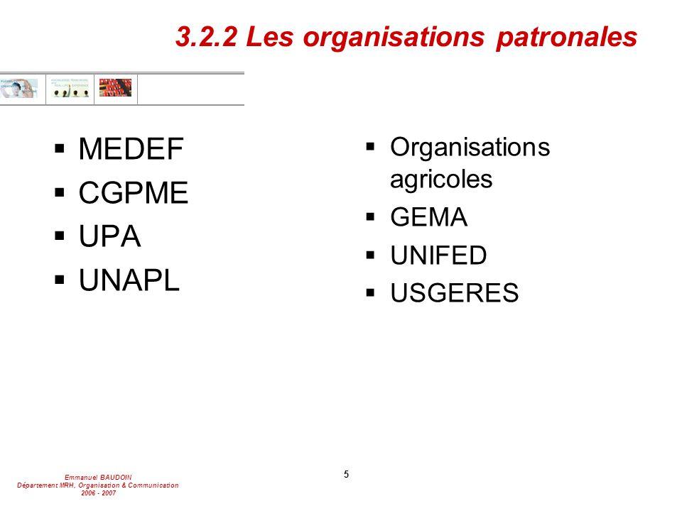 Emmanuel BAUDOIN Département MRH, Organisation & Communication 2006 - 2007 5 3.2.2 Les organisations patronales  MEDEF  CGPME  UPA  UNAPL  Organisations agricoles  GEMA  UNIFED  USGERES