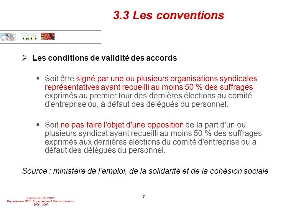 Emmanuel BAUDOIN Département MRH, Organisation & Communication 2006 - 2007 7 3.3 Les conventions  Les conditions de validité des accords  Soit être