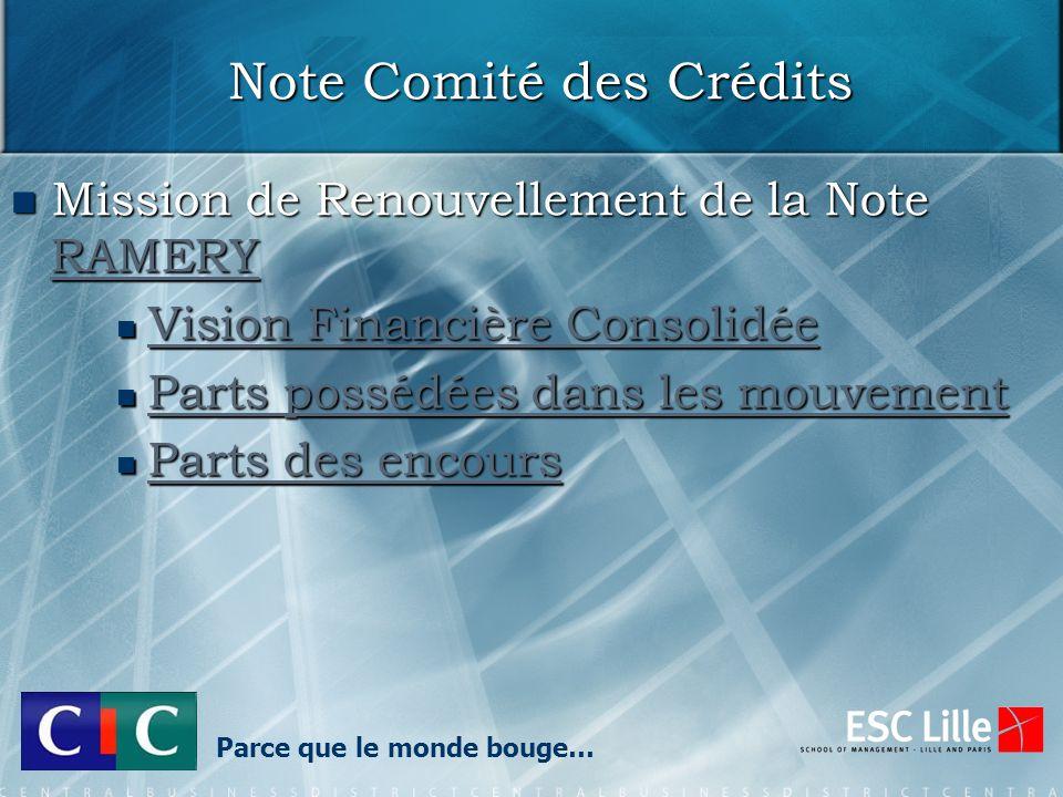Note Comité des Crédits Mission de Renouvellement de la Note RAMERY Mission de Renouvellement de la Note RAMERY RAMERY Vision Financière Consolidée Vi