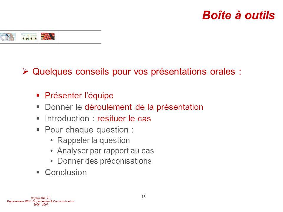Sophie BOTTE Département MRH, Organisation & Communication 2006 - 2007 13 Boîte à outils  Quelques conseils pour vos présentations orales :  Présent