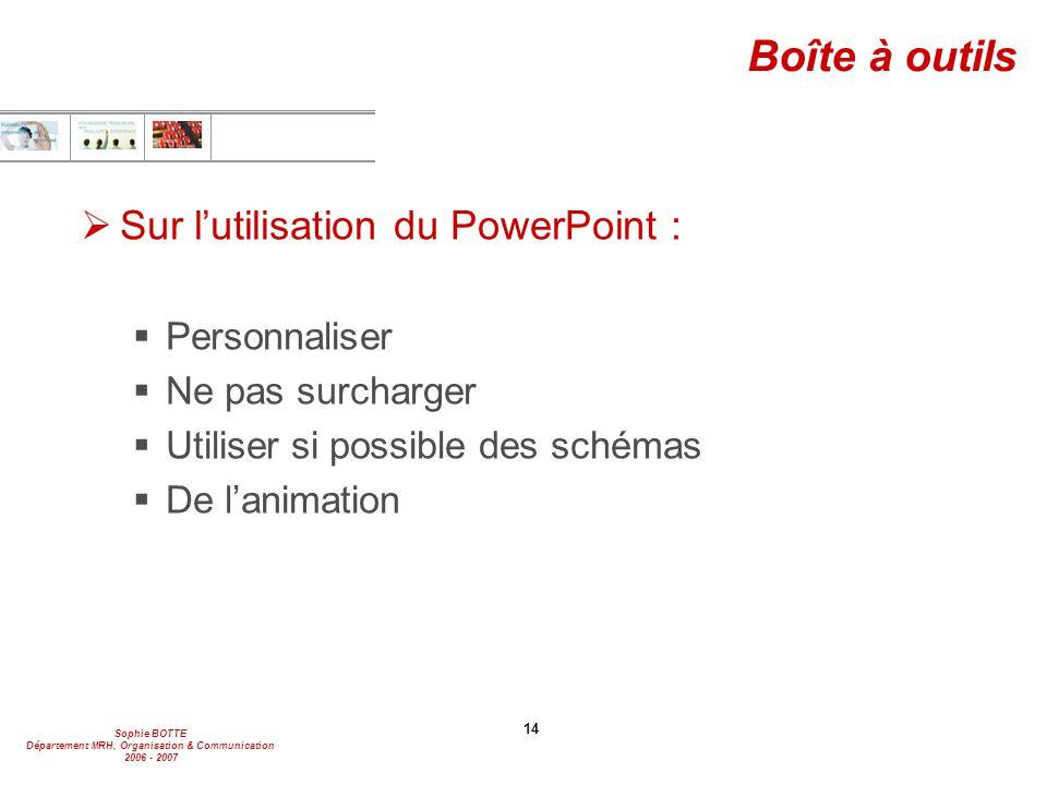 Sophie BOTTE Département MRH, Organisation & Communication 2006 - 2007 14 Boîte à outils  Sur l'utilisation du PowerPoint :  Personnaliser  Ne pas