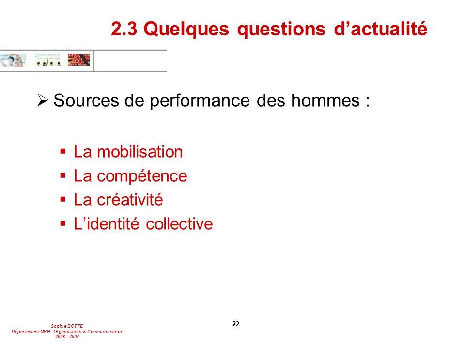 Sophie BOTTE Département MRH, Organisation & Communication 2006 - 2007 22 2.3 Quelques questions d'actualité  Sources de performance des hommes :  L