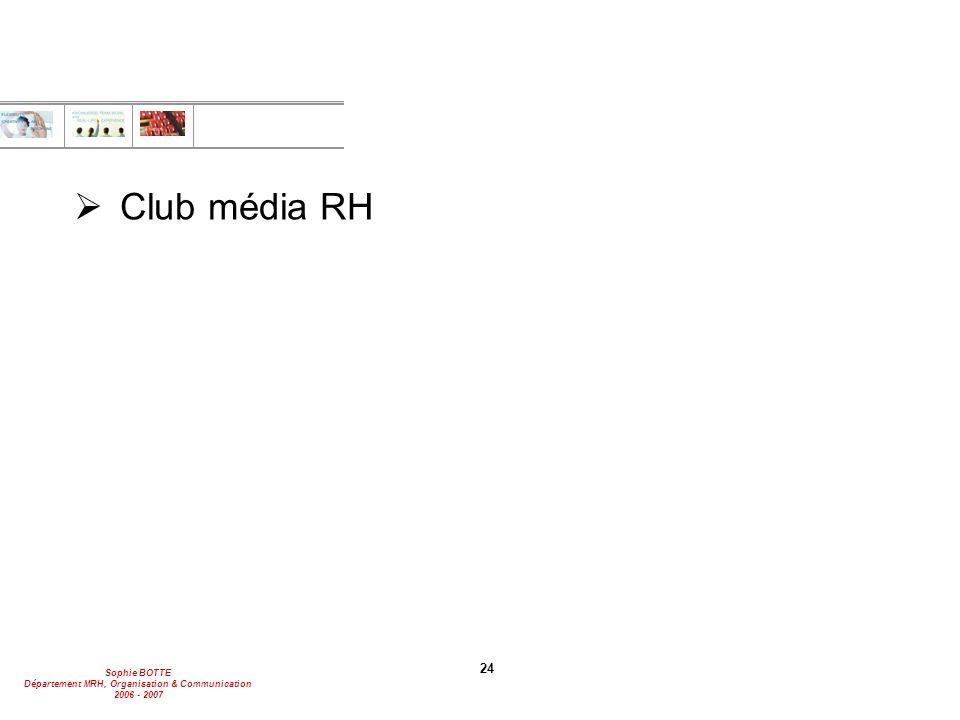 Sophie BOTTE Département MRH, Organisation & Communication 2006 - 2007 24  Club média RH