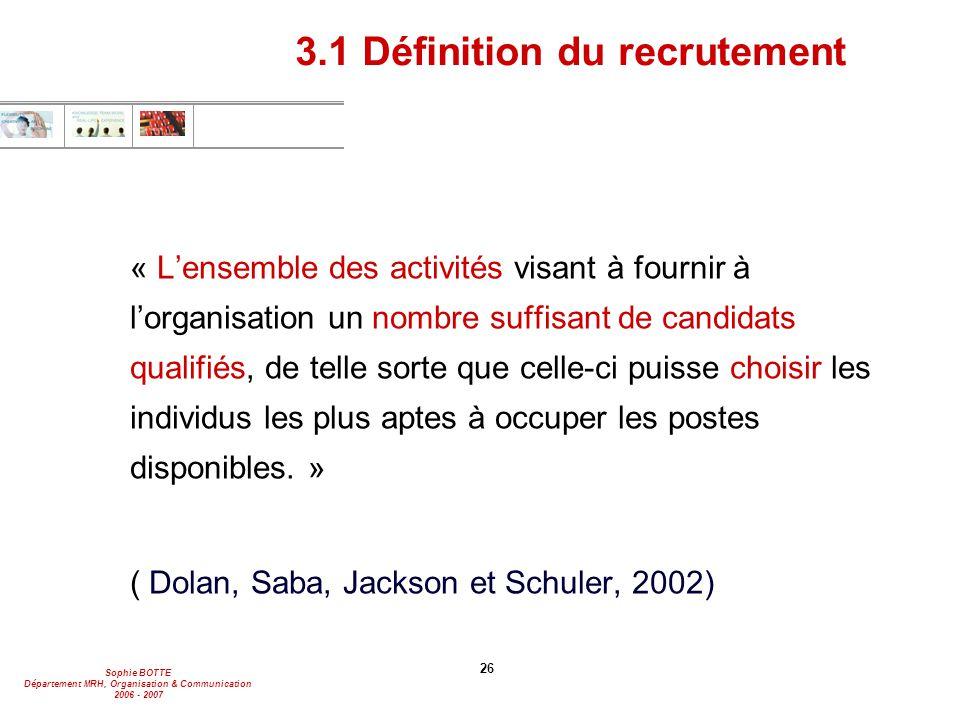 Sophie BOTTE Département MRH, Organisation & Communication 2006 - 2007 26 3.1 Définition du recrutement « L'ensemble des activités visant à fournir à