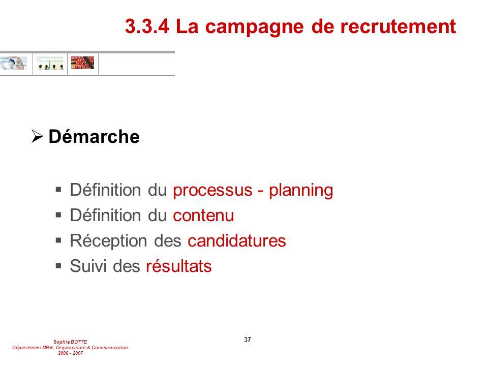 Sophie BOTTE Département MRH, Organisation & Communication 2006 - 2007 37  Démarche  Définition du processus - planning  Définition du contenu  Ré