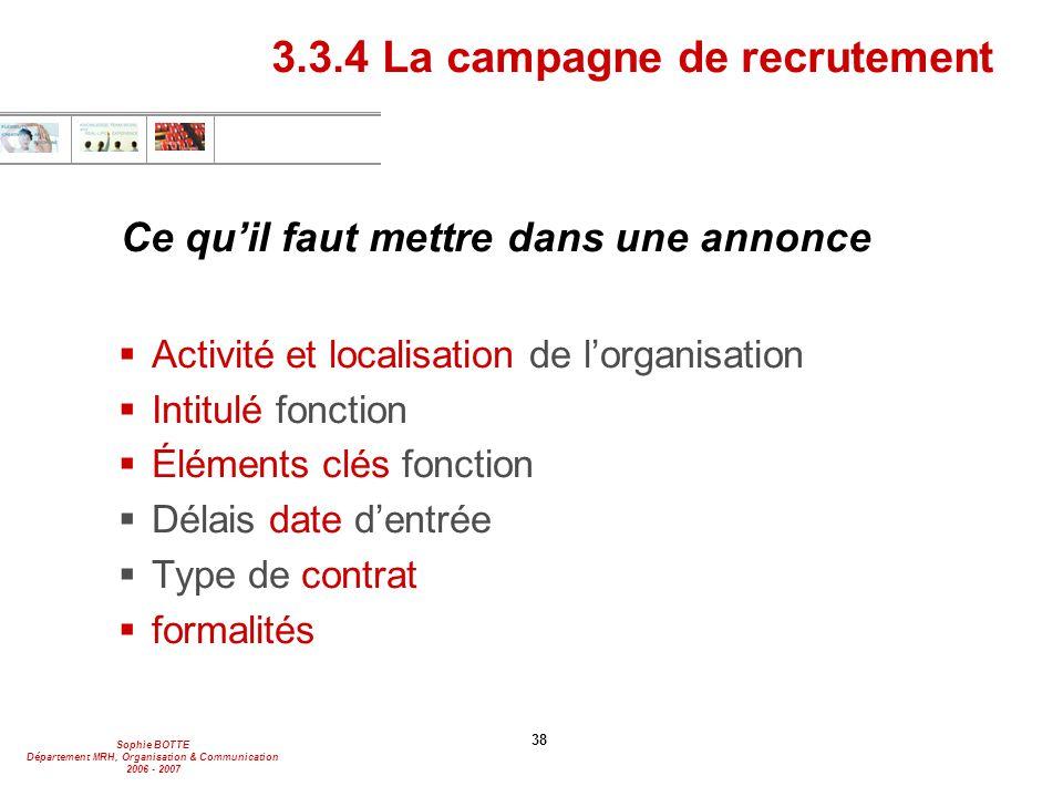 Sophie BOTTE Département MRH, Organisation & Communication 2006 - 2007 38 Ce qu'il faut mettre dans une annonce  Activité et localisation de l'organi