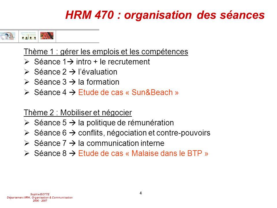 Sophie BOTTE Département MRH, Organisation & Communication 2006 - 2007 4 HRM 470 : organisation des séances Thème 1 : gérer les emplois et les compéte