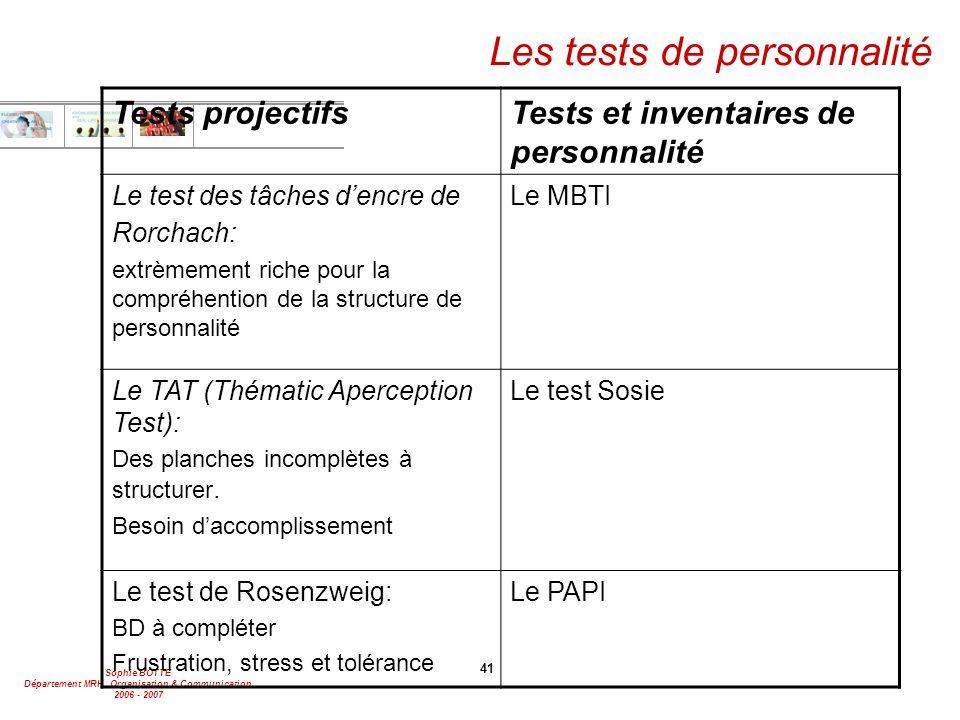 Sophie BOTTE Département MRH, Organisation & Communication 2006 - 2007 41 Les tests de personnalité Tests projectifsTests et inventaires de personnali