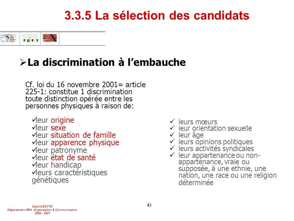 Sophie BOTTE Département MRH, Organisation & Communication 2006 - 2007 43  La discrimination à l'embauche Cf. loi du 16 novembre 2001= article 225-1: