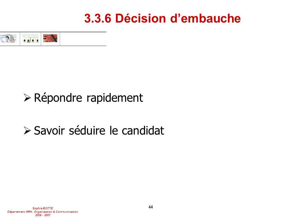 Sophie BOTTE Département MRH, Organisation & Communication 2006 - 2007 44 3.3.6 Décision d'embauche  Répondre rapidement  Savoir séduire le candidat