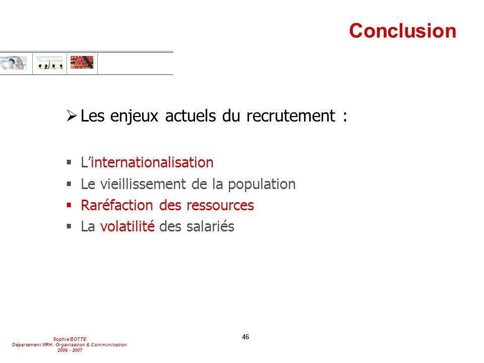 Sophie BOTTE Département MRH, Organisation & Communication 2006 - 2007 46 Conclusion  Les enjeux actuels du recrutement :  L'internationalisation 
