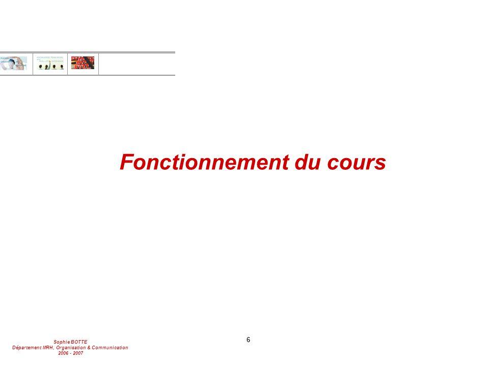 Sophie BOTTE Département MRH, Organisation & Communication 2006 - 2007 6 Fonctionnement du cours