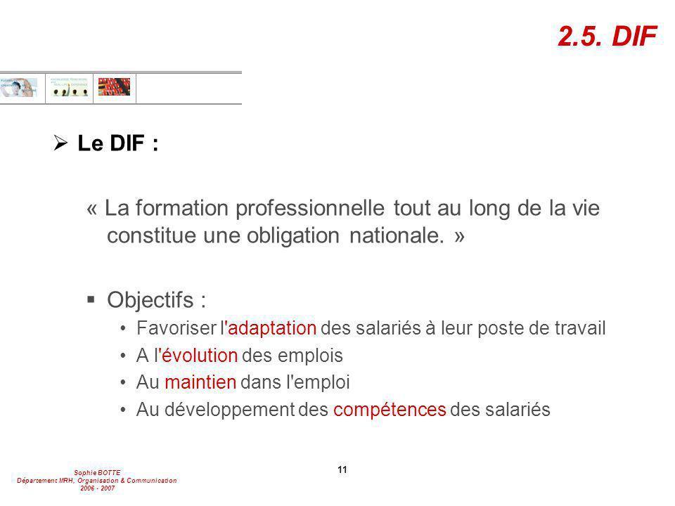 Sophie BOTTE Département MRH, Organisation & Communication 2006 - 2007 11 2.5. DIF  Le DIF : « La formation professionnelle tout au long de la vie co